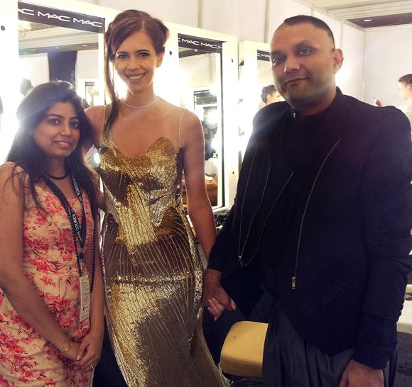 Delhi Couture Week 2013 Gaurav Gupta Backstage - Designer Prerna Matta Chug with Kalki Kochelin and Designer Gaurav Gupta