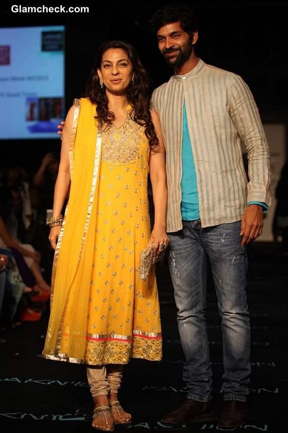 Juhi Chawla and Purab Kholi at Lakme Fashion Week Winter-Festive 2013