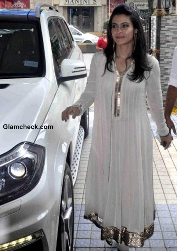 Kajol in White Anarkali Suit 2013