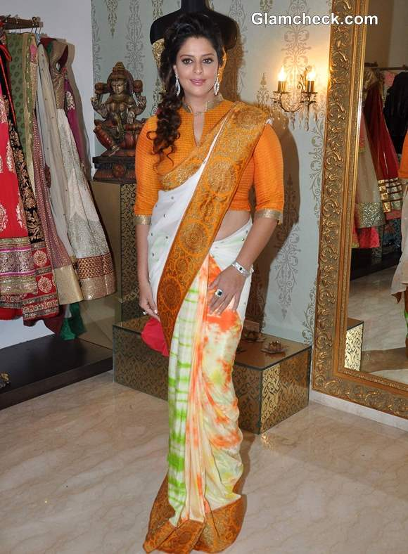Nagma Shops for Independence Day Sari at Amy Billimoria Store