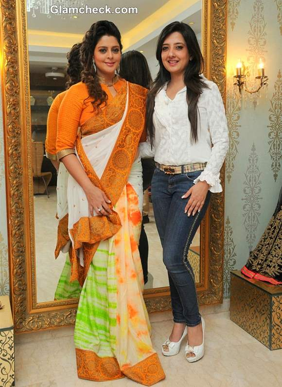 Nagma Shops for Independence Day Tri color Sari at Amy Billimoria Store
