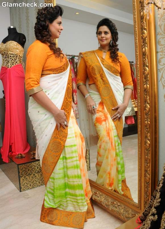 Nagma in Independence Day Sari at Amy Billimoria Store