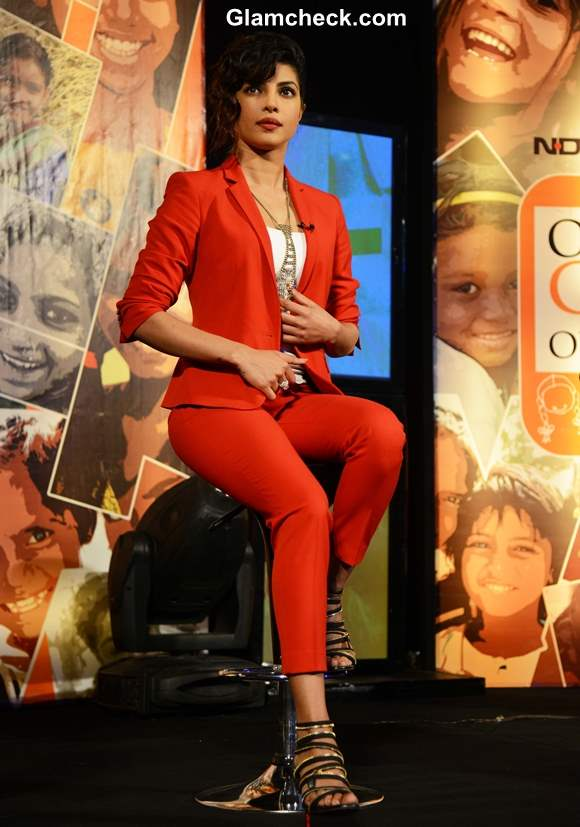 Priyanka Chopra red suit NDTV Vedanta Our Girls Our Pride Campaign
