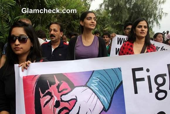 Sonam Kapoor Joins in Silent Protest against Gangrape