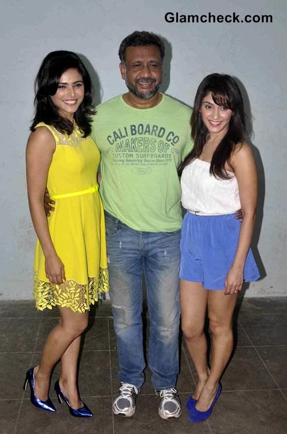 Anubhav Sinha with Bollywood actors Manjari Fadnis and Madhurima Tulli