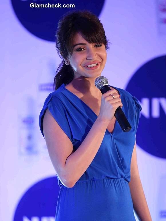 Anushka Sharma 2013 at NIVEA Flaunt Your Back Video Rock the Ramp contest