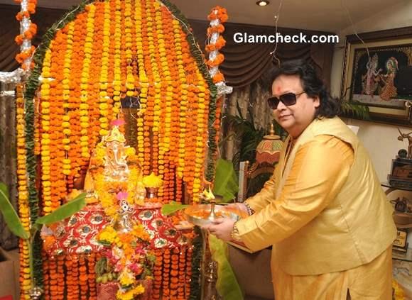 Bappi Lahiri during the Ganesh Chaturthi celebrations at his residence