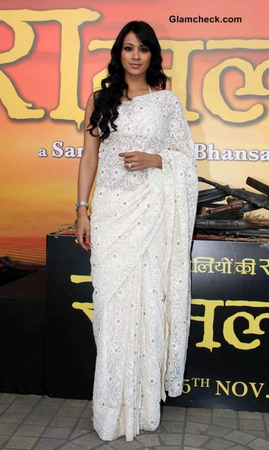 Barkha Bist in White Sari at Ram Leela Trailer Launch
