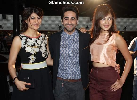 Bollywood actor Ayushmann Khurrana along with his wife Tahira Kashyap and actor Rhea Chakraborty