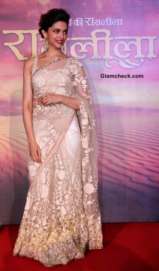 Deepika Padukone in Sari at Ram Leela Trailer Launch