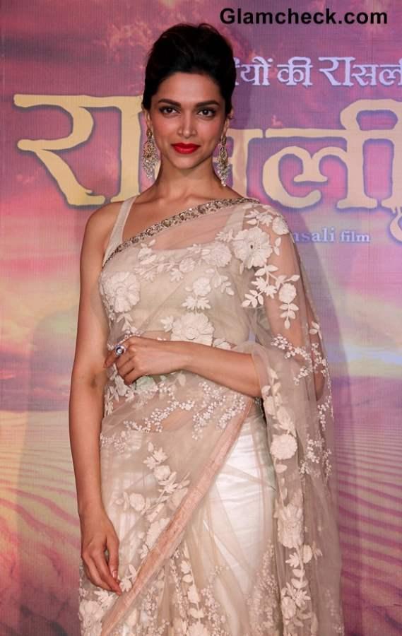 Deepika Padukone sheer Sari at Ram Leela Trailer Launch