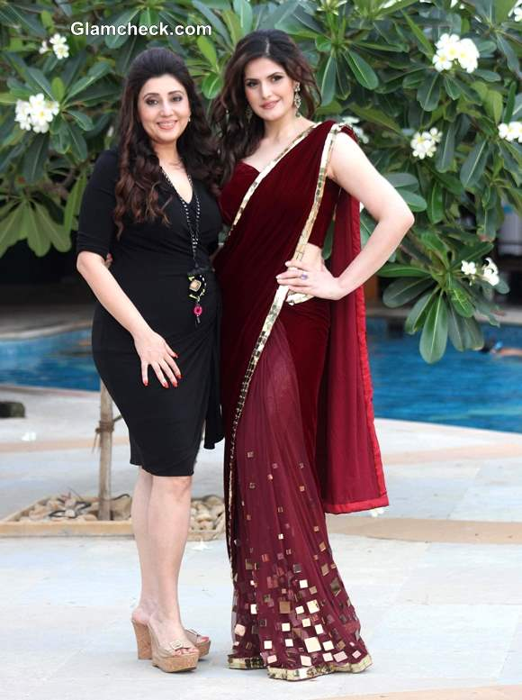 Designer Archana Kochhar with actress Zarine Khan at India Wedding Lounge 2013