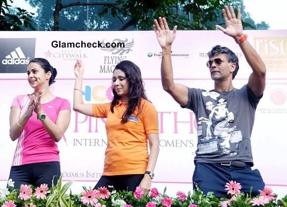 Gul Panag Milind Soman Spread Breast Cancer Awareness
