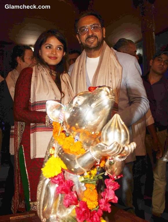 Gulshan Grover and Sheena Shahabadi at Music Launch of Raqt at Andheri Cha Raja 2013