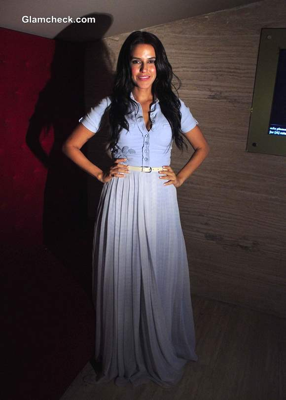 How to Wear a Formal Shirt with a Maxi Skirt like Neha Dhupia