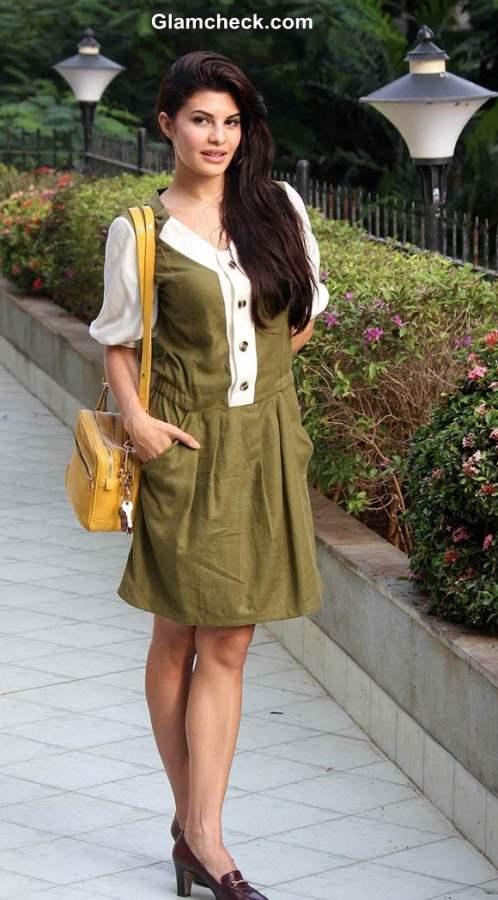 Jacqueline Fernandes 2013 Protests Crimes against Women in Olive Green Dress