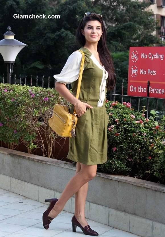 Jacqueline Fernandes Protests Crimes against Women in Olive Green Dress