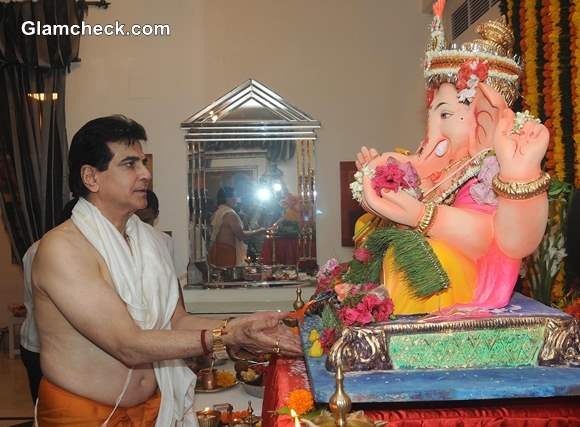 Jeetendra during the Ganesh Chaturthi celebrations at his residence