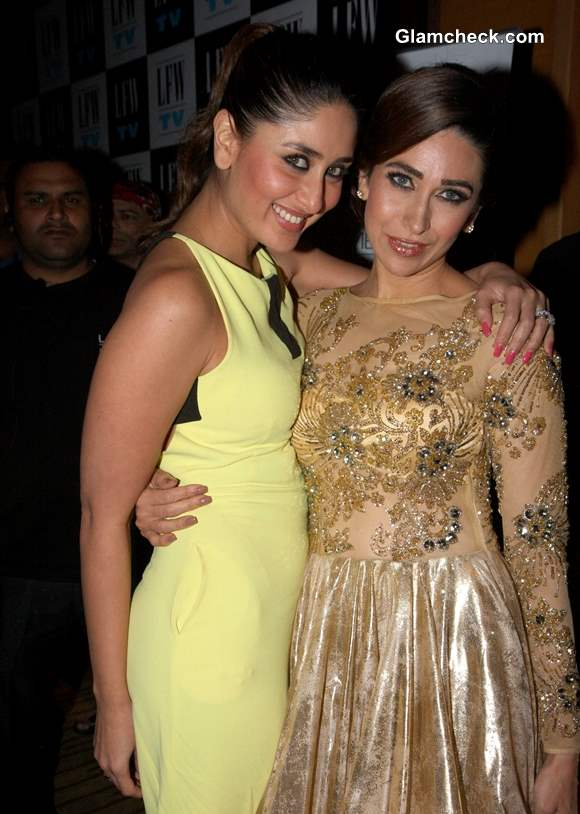 Kareena Kapoor Cheers Karisma at LFW 2013
