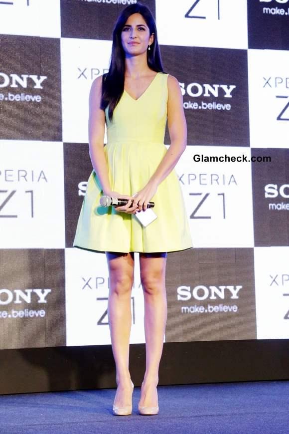 Katrina Kaif in yellow dress at Sony Xperia Z1 launch