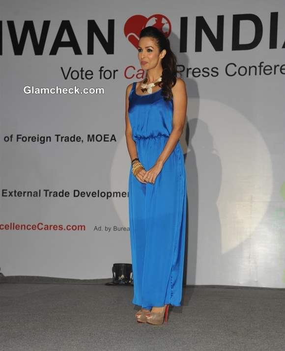 Malaika Arora Khan blue gown at Taiwan Excellence Care Charity Campaign