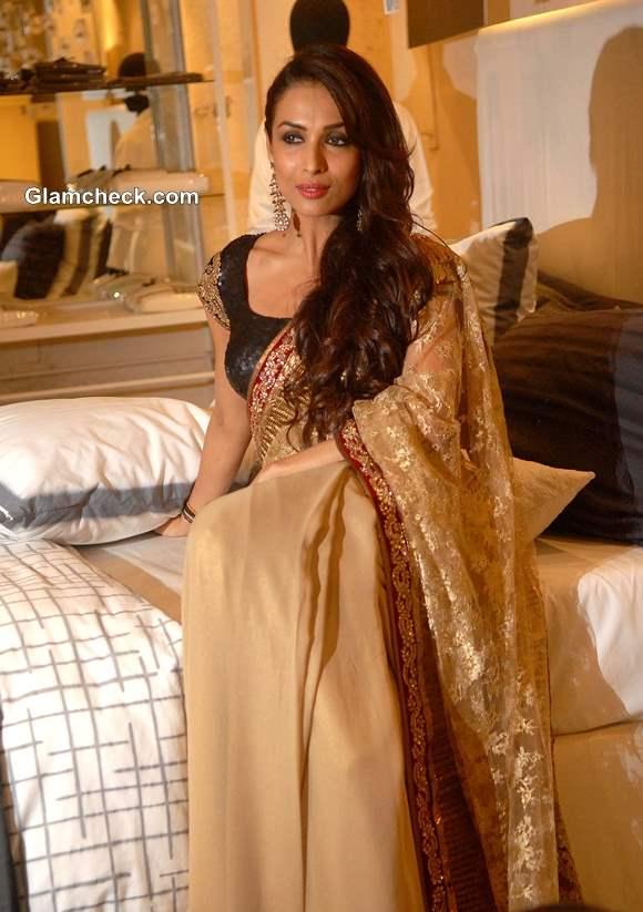 Malaika Arora Khan in Gold Sari at Blenders Pride Fashion Tour 2013