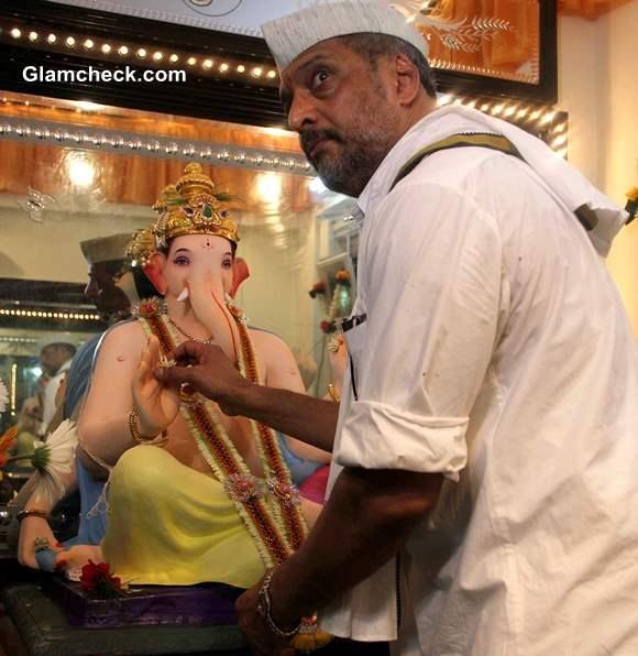 Nana Patekar during the Ganesh Chaturthi celebrations at his residence in Mumbai