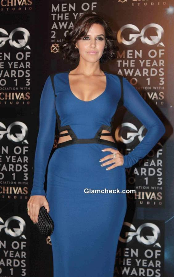 Neha Dhupia in Robert Cavalli Evening Gown at GQ Men of the Year Awards 2013