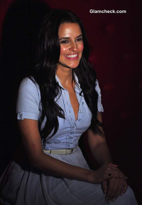 Neha Dhupia style 2013 Wearing Formal Shirt with a Maxi Skirt