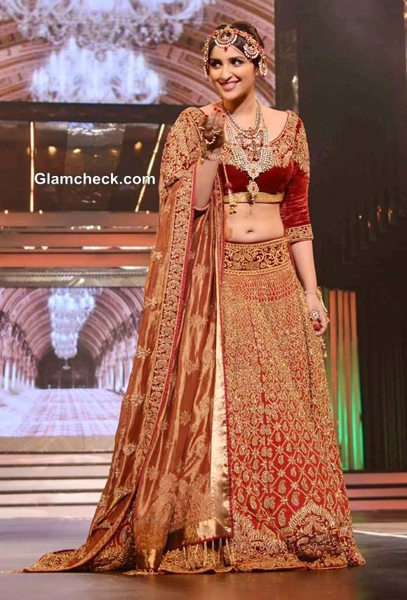 Parineeti Chopra in Red Lehenga at Yash Chopra Fashion Show