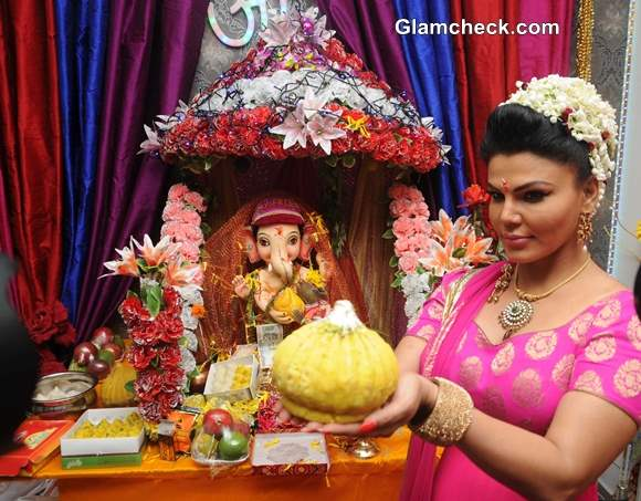 Rakhi Sawant during the Ganesh Chaturthi celebrations at her  residence