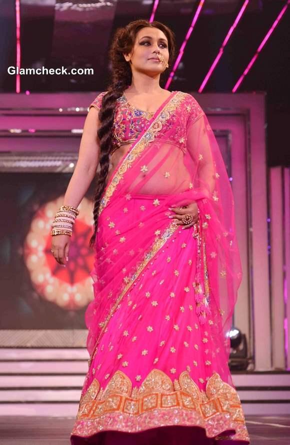 Rani Mukherjee 2013 Walks the Ramp in Pink Lehenga Late Yash Chopra Tribute