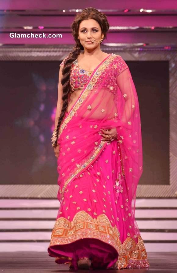 Rani Mukherjee Walks the Ramp in Pink Lehenga 2013 for Late Yash Chopra