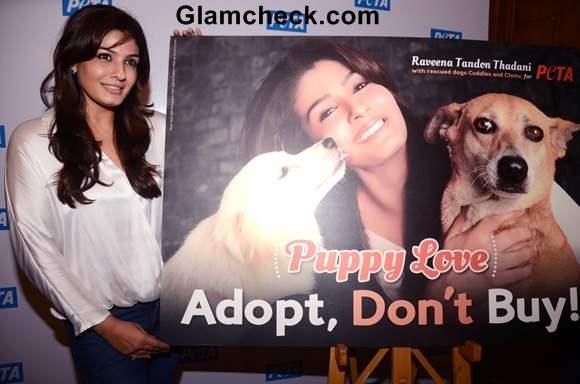 Raveena Tandon Roots for PETAs Adopt Dont Buy Campaign