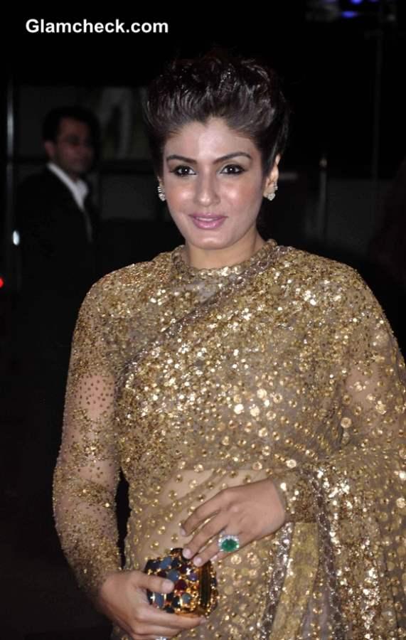 Raveena Tandon in Sabyasachi Golden Sari 2013