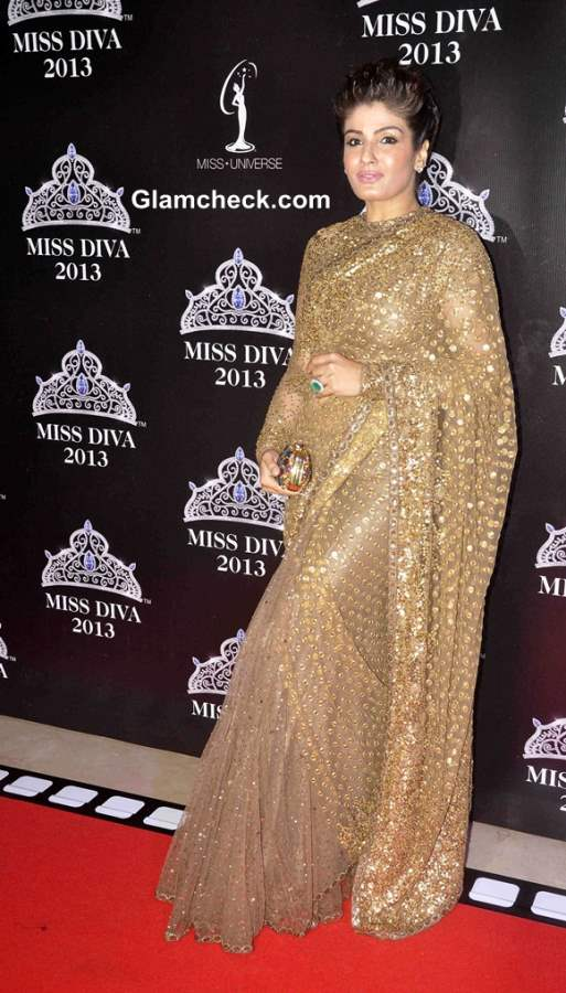 Raveena Tandon in Sabyasachi Sari at Miss Diva 2013