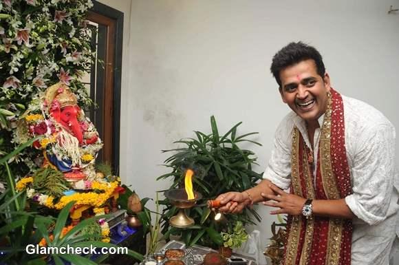 Ravi Kishan during the Ganesh Chaturthi celebrations at his residence