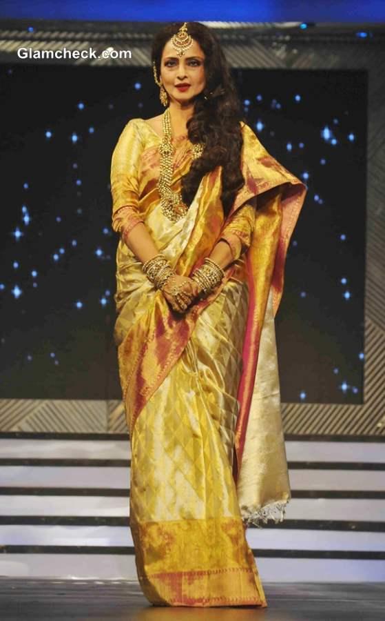 Rekha pictures in sari 2013