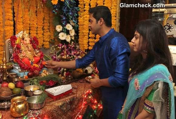 Shreyas Talpade during the Ganesh Chaturthi celebrations at his residence