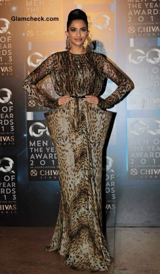 Sonam Kapoor 2013  in Jean Paul Gaultier Animal Print Gown at GQ Men of the Year Awards