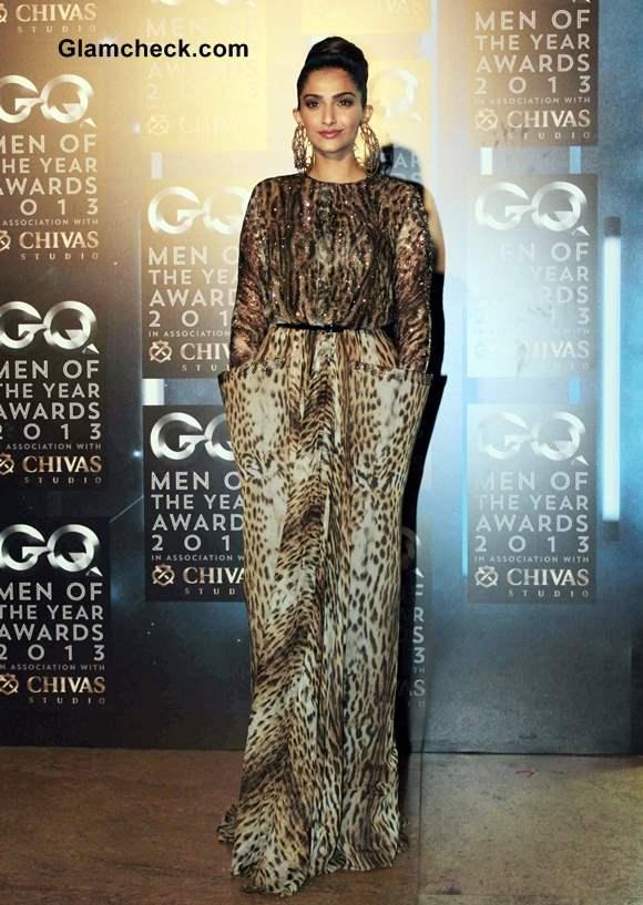 Sonam Kapoor in Jean Paul Gaultier Animal Print Gown GQ Men of the Year Awards 2013