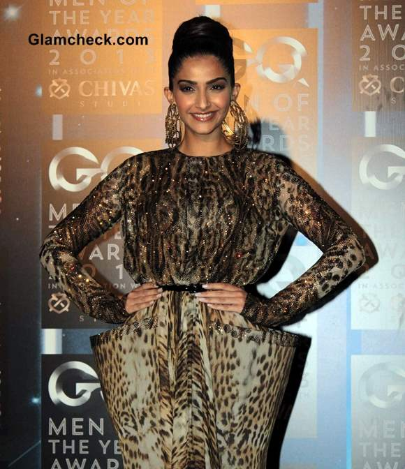 Sonam Kapoor in Jean Paul Gaultier Animal Print Gown at GQ Men of the Year Awards 2013