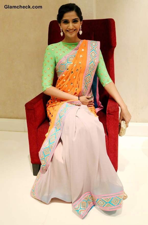 Sonam Kapoor in Manish Arora Sari 2013 pictures