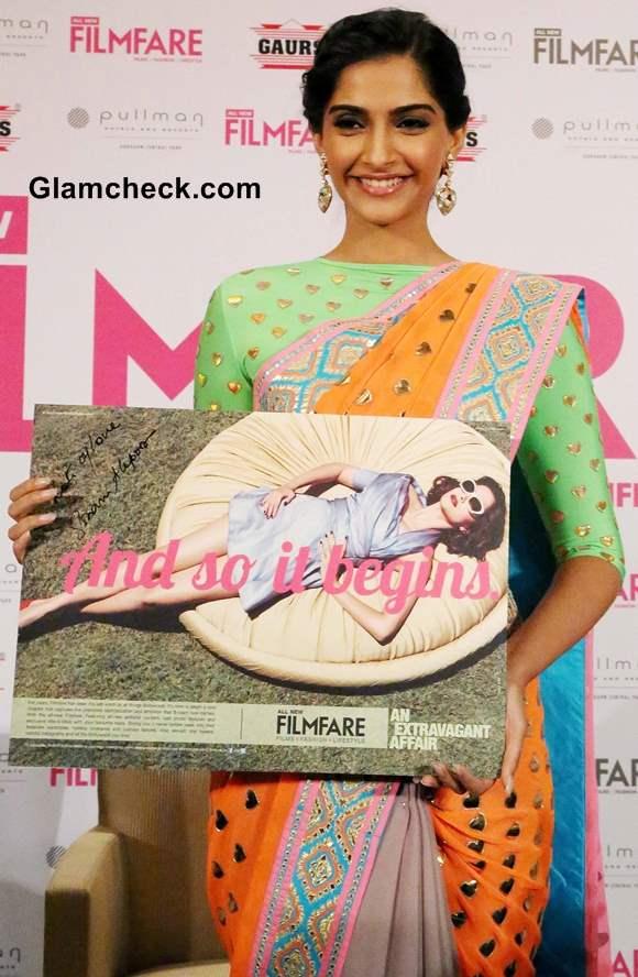 Sonam Kapoor in Manish Arora Sari Filmfare Magazine New Look Unveiling