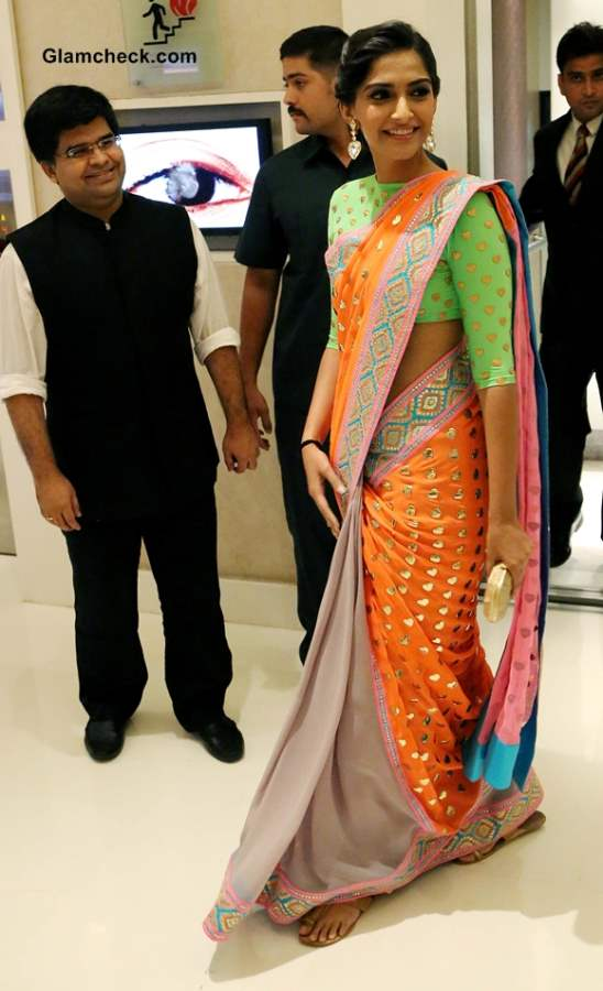 Sonam Kapoor in Neon Manish Arora Sari at Filmfare New Look Unveiling
