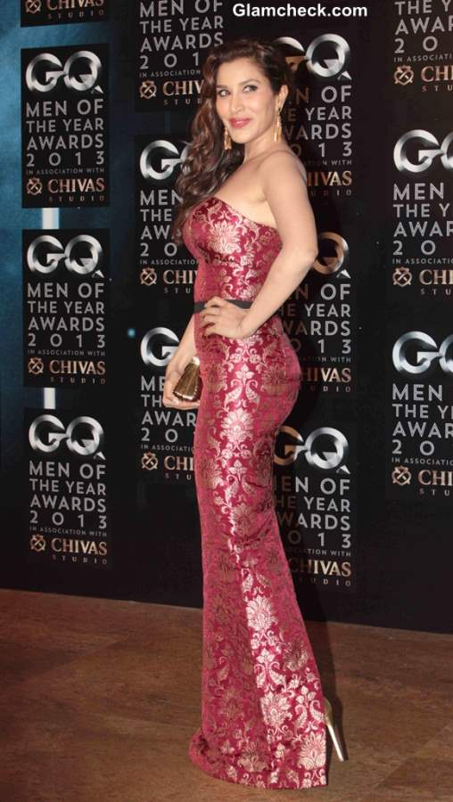 Sophie Choudhry in Harsh Harsh Brocade Gown at GQ men of the Year Awards 2013