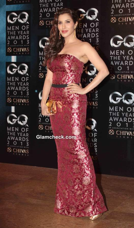 Sophie Choudhry in Harsh Harsh Strapless Dress at GQ men of the Year Awards 2013
