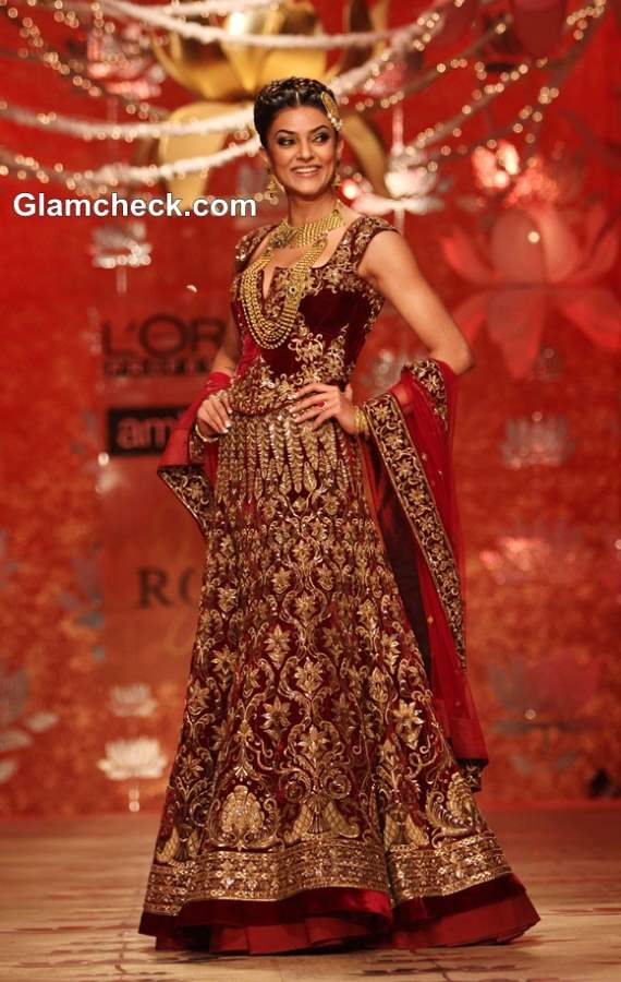 Sushmita Sen in Rohit Bal Bridal Lehenga at Ambika Pillai Salon Opening 2013