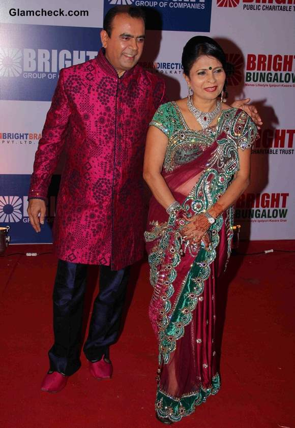 Yogesh Lakhani with his wife during his birthday party in Mumbai