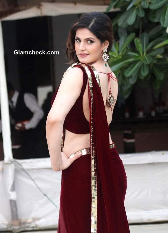 Zarine Khan in Archana Kochhar Maroon Sari at Wedding Lounge 2013